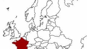 La Francia evidenziata nella mappa dell'Europa