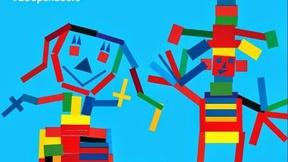 sfondo azzurro, omini stilizzati di diversi colori