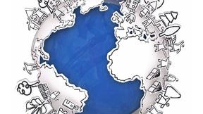 Immagine del mondo con disegni di case, alberi, persone in rilievo.