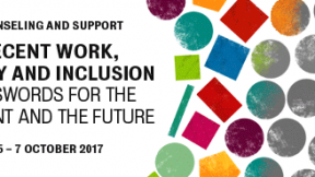 """International Conference """"Decent work, equity and inclusion"""", 5th-7th october 2017, Padova Disseminating issues on inclusion contributes to creating a wave of change that highlights differences and allows individuality to emerge, Also the grey spheres ar"""