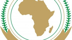 sfondo bianco, mappa dell'Africa senza confini di color oro all'interno di due cerchi, in basso piccoli cerchi rossi incrociati l'uno con l'altro e foglie di palma che spuntano da entrambi i lati del simbolo.