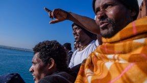 Migrants in the central Mediterranean Sea.