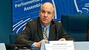 Close up of Nils Muižnieks, new Commissioner for Human Rights of the Council of Europe, 2012