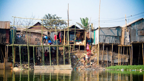 Stilt houses to help cope with floods in Dhaka, Bangladesh.