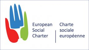 The European Social Charter logo, three faces compose a stylized hand.