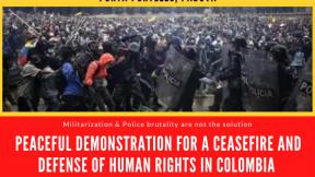 Giovedì 13 maggio 2021: Corteo pacifico in difesa delle violazioni dei diritti umani in Colombia, Porta Portello, Padova