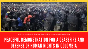 Thursday, May 13 - 17:00 Peaceful demonstration for a ceasefire and defence of human rights in Colombia, Porta Portello, Padua