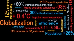 Copertina del rapporto UNEP con frasi e dati in diversi colori su sfondo nero