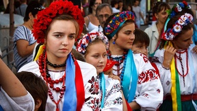 Ukrainian children wearing national costumes at the Independence Day celebration, 2011