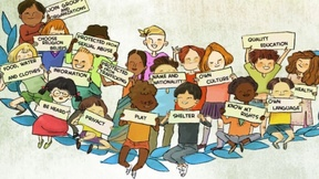 pencil drawning of children with posters about their rights