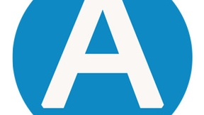 """Icona utilizzata nella homepage del sito """"pace-diritti umani"""" per la pagina di dichiarazione di accessibilità e usabilità. Un tondo azzurro con al centro una grande A bianca."""