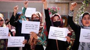 Afghan women protesting