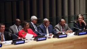 10 December 2014 - From left: Valerie Amos, Under-Secretary-General for Humanitarian Affairs and Emergency Relief Coordinator, President Kutesa, Ivan Šimonović, UN Assistant Secretary-General for Human Rights, Tegegnework Gettu, Under-Secretary-General of DGACM and Mireille Fanon Mendes France, Chairperson, Working Group of Experts on People of African Descent.