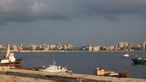 Panorama di Alessandria d'Egitto, sullo sfondo la Biblioteca Alessandrina, 2007