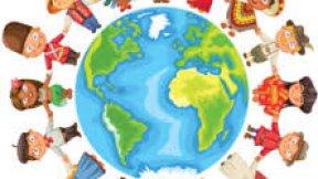 Bambini che circondano il mondo