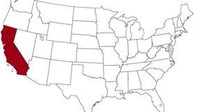 La California evidenziata nella mappa degli Stati Uniti
