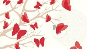 sfondo bianco, disegno di un albero contornato di farfalle rosse