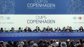 UN Secretary-General Ban Ki-Moon attends a resumed session at the UN Climate Change Conference in Copenhagen, Denmark.