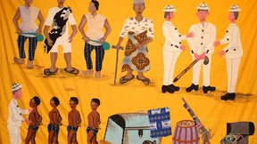 A painting on yellow cloth, created for an exhibit inside the UNESCO Headquarters, in occasion of the International Day for the Abolition of Slavery.
