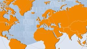 """Immagine di un planisfero con dei cerchi concentrici che dipartono dal Veneto e la scritta """"diritti umani"""", ad indicare il ruolo attivo della Regione del Veneto per la promozione dei diritti umani e della cultura di pace"""