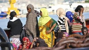 African migrant women on a boat