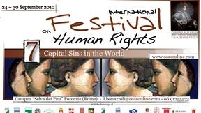 Locandina del Primo Festival Internazionale dei Diritti Umani, Pomezia (Roma), 2010