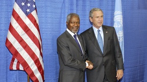 Former President of the United States George W. Bush with Former UN Secretary General Kofi Annan.