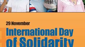 sfondo arancione, in alto foto di persone palestinesi, al centro scritta in inglese: 29 novembre, Giornata internazionale di solidarietà con il popolo palestinese. in basso logo delle Nazioni Unite