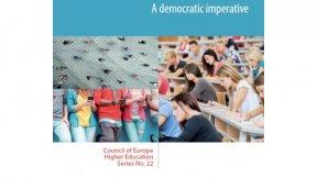 Consiglio d'Europa, copertina della pubblicazione: Higher education for diversity, social inclusion and community - A democratic imperative
