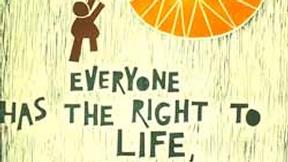 Poster con disegno e testo dell'art. 3 della dichiarazione universale dei diritti umani