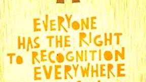 Poster con disegno e testo dell'art. 6 della dichiarazione universale dei diritti umani