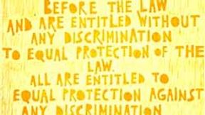 Poster con disegno e testo dell'art. 7 della dichiarazione universale dei diritti umani