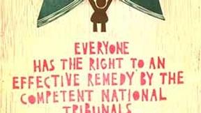 Poster con disegno e testo dell'art. 8 della dichiarazione universale dei diritti umani