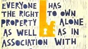 Poster con disegno e testo dell'art. 17 della Dichiarazione universale dei diritti umani.