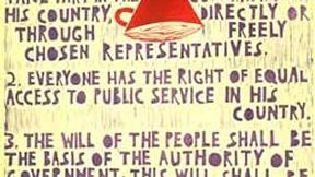 Poster con disegno e testo dell'art. 21 della Dichiarazione universale dei diritti umani.
