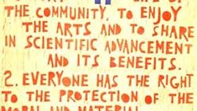 Poster con disegno e testo dell'art. 27 della Dichiarazione universale dei diritti umani.