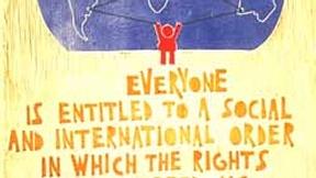 Poster con disegno e testo dell'art. 28 della Dichiarazione universale dei diritti umani.
