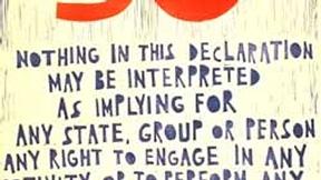 Poster con disegno e testo dell'art. 30 della Dichiarazione universale dei diritti umani.