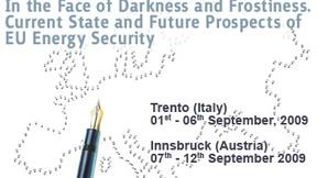 Logo della International Summer School (Trento - Innsbruck) 2009 che rappresenta un'Europa dai confini tratteggiati.