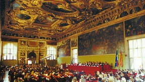 Student body and staff participate in the inauguration ceremony for the 2002-2003 academic year of the European Master's Degree in Human Rights and Democratization, venice, 2002