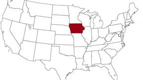 L'Iowa evidenziato nella mappa degli Stati Uniti