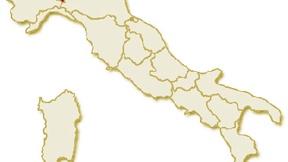 Carta geografica politica dell'Italia, suddivisa con i confini delle 20 regioni, su sfondo chiaro con evidenziata in rosso l'area del territorio della Regione Lombardia.