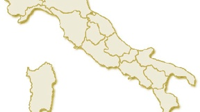 Carta geografica politica dell'Italia, suddivisa con i confini delle 20 regioni, su sfondo chiaro con evidenziata in rosso l'area del territorio della Regione Trentino Alto Adige.