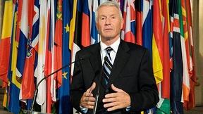 Il Segretario generale del Consiglio d'Europa per il periodo 2009-2014, Thorbjørn Jagland, pronuncia il proprio discorso inaugurale.