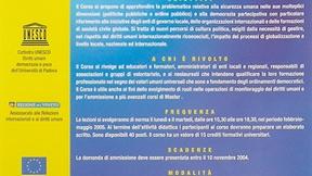 """Locandina del XVI Corso di Perfezionamento sui diritti della persona e dei popoli """"Diritti umani, sicurezza umana e democrazia partecipativa dalla città all'ONU"""", Padova, 2004"""