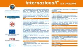 """Locandina del corso di aggiornamento universitario sulla disabilità: """"Diritti umani e disabilità. Gli strumenti di tutela delle istituzioni nazionali e internazionali"""", Padova, 2005"""