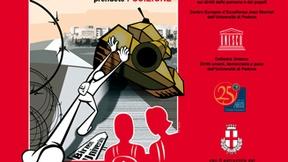 """Immagine della locandina della mostra fotografica: """"Studenti sotto occupazione. Mostra fotografica sul Diritto all'istruzione nei territori occupati palestinesi"""". Università di Padova, Aula Iqbal Masih, Centro Diritti Umani, 23 - 25 maggio 2007. L'immagine centrale mostra un disegno di uno studente stilizzato che cerca di ribaltare un carro armato."""