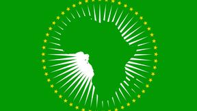 Nuova bandiera dell'Unione Africana, adottata ad Addis Abeba nel gennaio 2010, simboleggia la sagoma dell'Africa circondata da stelle rappresentnati gli stati membri