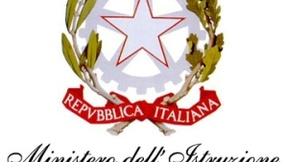 "Official logo of the Presidency of the Council of Ministries of The Italian Republic. Under the image is written; ""Ministero dell'Istruzione, dell'Università e della Ricerca,"" or Ministry of Education, Universities and Research."