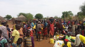 People at the marketplace of Lolachat in Uganda